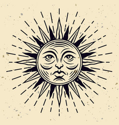 sun face tattoo with rays mystical vector image