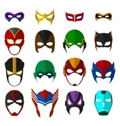 Super hero masks set vector image