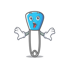 Surprised safety pin mascot cartoon vector