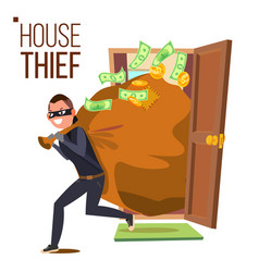 Thief and door bandit with bag breaking vector