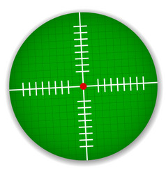 Tilted cross-hair reticle with grid red focal vector