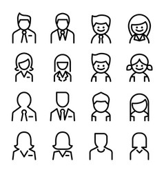 User avatar man woman icon set in thin line vector