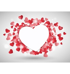 Valentine heart as paper in front of red little vector image