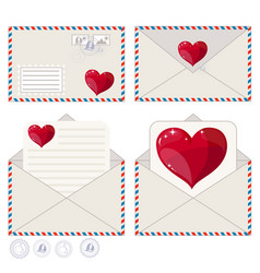valentine letter in envelope flat icon vector image