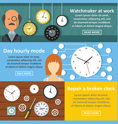 Watch clock work banner horizontal set flat style vector