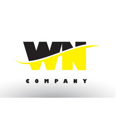 Wn w n black and yellow letter logo with swoosh vector