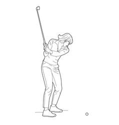 Woman drawing golf vector