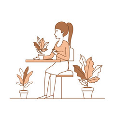 woman drink coffee in the garden vector image