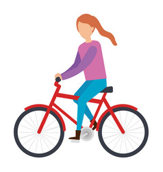 young woman riding bicycle character vector image