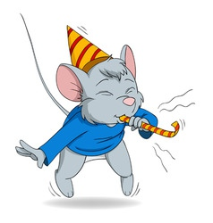 cute cartoon mouse blow in fife vector image