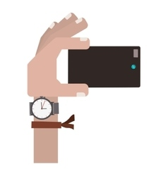 Hand holding cellphone for selfie cam vector