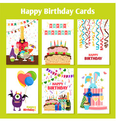birthday cards set vector image vector image