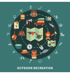 Camping flat composition vector image vector image