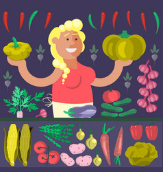 cartoon character vegetables seller vector image