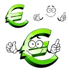 Cartoon isolated green euro sign vector