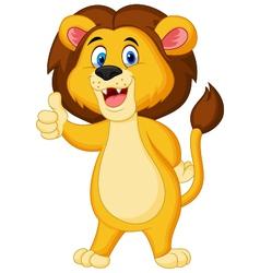 Cute lion cartoon giving thumb up vector image