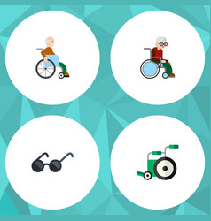 flat icon disabled set of spectacles wheelchair vector image vector image