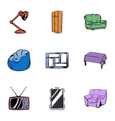 home icons set cartoon style vector image vector image