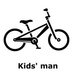 Kids man bike icon simple style vector