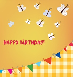 Birthday card with butterflies and bunting flags vector image