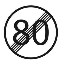 end maximum speed limit 80 sign line icon vector image vector image