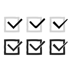 Hand drawn check marks or ticks confirm icons set vector