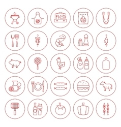 Line Circle BBQ Icons Set vector image vector image