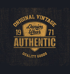 original vintage denim print for t-shirt vector image
