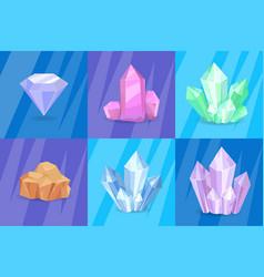 precious stones and minerals vector image vector image