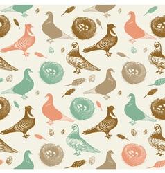 Retro Pigeons Pattern vector image