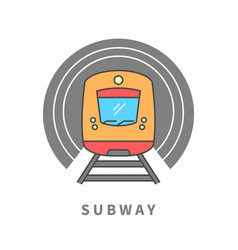 subway train in the tunnel vector image