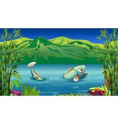 A big fish at the lake vector