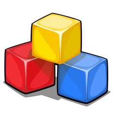 a stack of three plastic colored cubes isolated on vector image