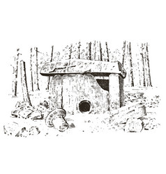 Ancient cave prehistoric house of wood or stone vector