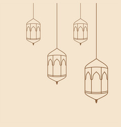 Arabic hanging lantern template vector