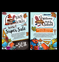 back to school sale posters vector image