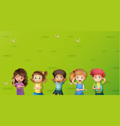 Background scene with kids on grass vector