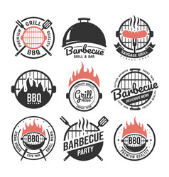 Barbecue and grill labels set bbq emblems vector