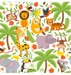 Basic rgbseamless pattern with jungle animals vector