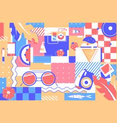 beach items background glasses ice cream vector image