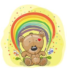 Bear with rainbow vector