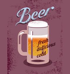 Beer mug vintage grunge style poster vector