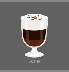 Bicerin traditional italian hot drink cartoon icon vector