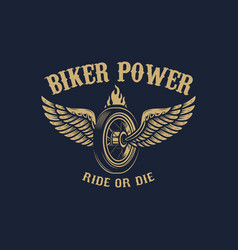 biker power winged wheel in golden style design vector image