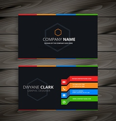 black dark business card vector image