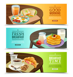 Breakfast horizontal banners set vector
