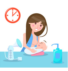 breastfeeding mother and child vector image