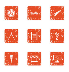Building partition icons set grunge style vector