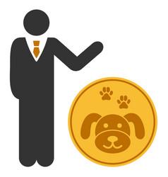 Businessman show puppycoin flat icon vector