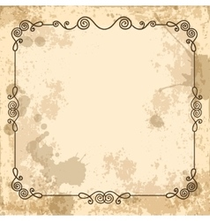 calligraphic frame on old background vector image